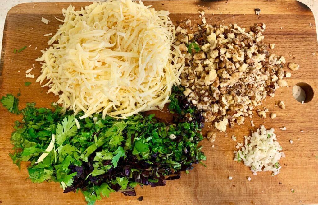баклажаны рулетики с сыром и орехами - начинка