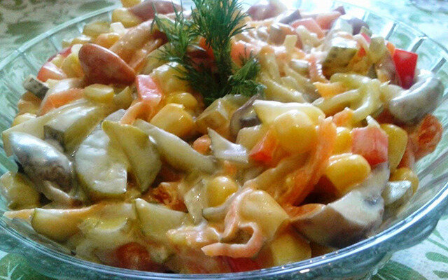 салат из перца с грибами